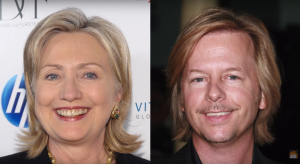 Hillary Clinton's a dude... or David Spade's a dudette. Not sure who's hidin what here.
