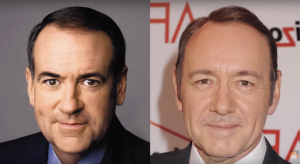 Mike Huckabee is might push you off a train platform to keep a secret, about his Kevin Spacey disguise