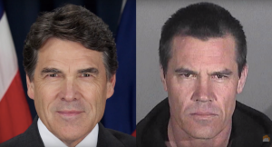 Rick Perry figured Josh Brolin's mugshot was already a pretend president (W), so why not?